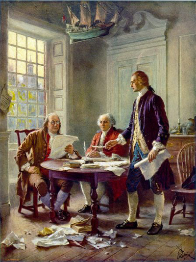 A painting by Jean Leon Gerome Ferris of the drafting of the Declaration of Independence featuring Thomas Jefferson (right), Benjamin Franklin (left), and John Adams (center). The painting is currently located at the Virginia Historical Society here in Richmond.
