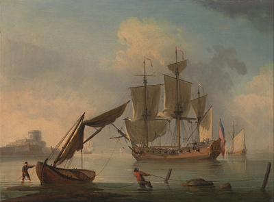 Wikimedia Commons, which contains Public Domain images, also was a great resource. I found this painting by Francis Swaine featuring an 18th century sloop. I made the desktop image on my laptop to help inspire my writing.