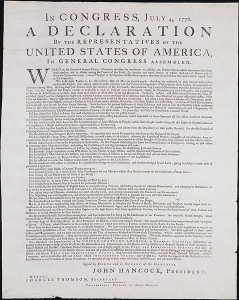 The Dunlap Broadside first printed on July 4th. From the held at the Yale University Beinecke Rare Book and Manuscript Library.
