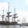The Hermione among the other ships at port in Yorktown.