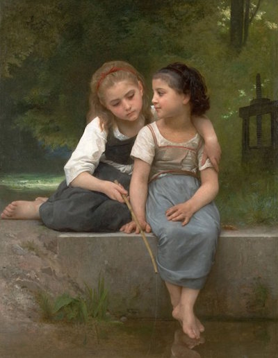 Fishing For Frogs, 1882. Oil on canvas painting by William Adolphe Bouguereau via Wikimedia Commons.